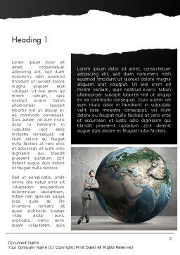 Dreaming Businessman Standing Near Globe Word Template, First Inner Page, 13794, Global — PoweredTemplate.com