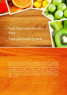 Fruits Collage Word Template, Cover Page, 13811, Food & Beverage — PoweredTemplate.com