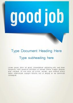 Good Job Word Template Cover Page