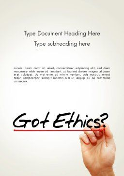Ethical Code Word Template, Cover Page, 13823, Business — PoweredTemplate.com