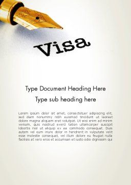 Immigration Visa Word Template, Cover Page, 13830, Legal — PoweredTemplate.com