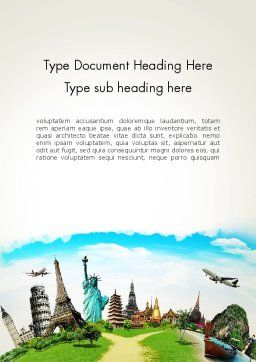 Travel The World Word Template, Cover Page, 13846, Careers/Industry — PoweredTemplate.com