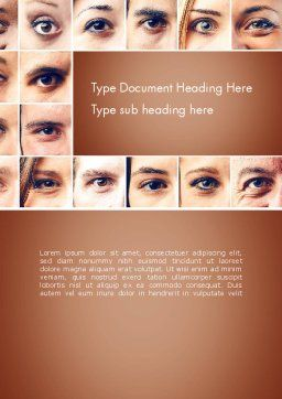 Peoples Eyes Word Template, Cover Page, 13853, People — PoweredTemplate.com