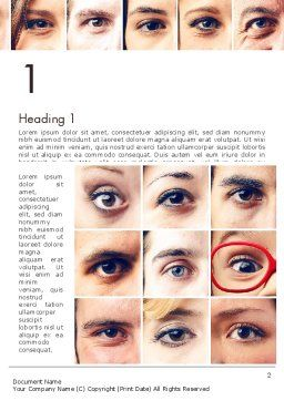 Peoples Eyes Word Template, First Inner Page, 13853, People — PoweredTemplate.com