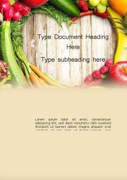 Love Fruit and Veg Word Template, Cover Page, 13871, Agriculture and Animals — PoweredTemplate.com