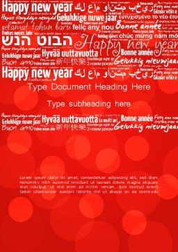 Happy New Year Wishes in Different Languages Word Template, Cover Page, 13877, Holiday/Special Occasion — PoweredTemplate.com