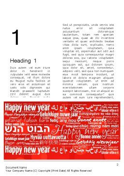 Happy New Year Wishes in Different Languages Word Template, First Inner Page, 13877, Holiday/Special Occasion — PoweredTemplate.com