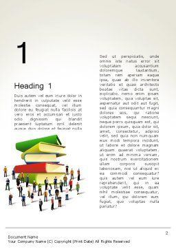 Book Stack and People Word Template First Inner Page