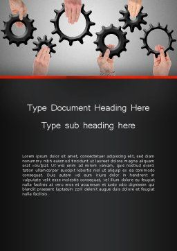 Gears Engagement Word Template, Cover Page, 13886, Business Concepts — PoweredTemplate.com