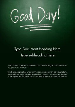 Good Day Writing On Blackboard Word Template, Cover Page, 13903, Business Concepts — PoweredTemplate.com