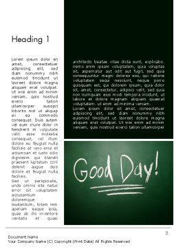 Good Day Writing On Blackboard Word Template, First Inner Page, 13903, Business Concepts — PoweredTemplate.com