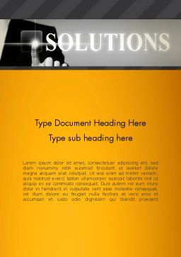 Press The Solution Key Word Template, Cover Page, 13907, Business Concepts — PoweredTemplate.com