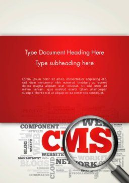 CMS Word Cloud Word Template, Cover Page, 13919, Technology, Science & Computers — PoweredTemplate.com