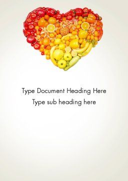 Fruits and Vegetable Heart Word Template, Cover Page, 13930, Agriculture and Animals — PoweredTemplate.com