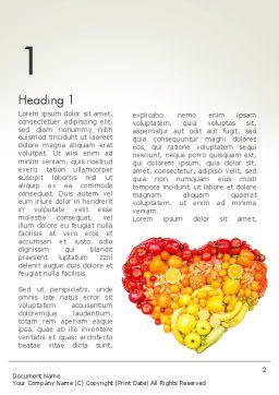 Fruits and Vegetable Heart Word Template, First Inner Page, 13930, Agriculture and Animals — PoweredTemplate.com