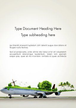 Travel by Airplane Word Template, Cover Page, 13936, Cars/Transportation — PoweredTemplate.com
