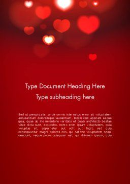 Hearts Love Theme Word Template, Cover Page, 13949, Holiday/Special Occasion — PoweredTemplate.com