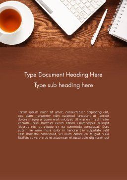 Top View on Wooden Desk Word Template, Cover Page, 13954, Business Concepts — PoweredTemplate.com