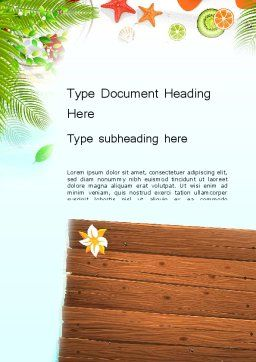 Tropical Holidays Word Template, Cover Page, 13962, Holiday/Special Occasion — PoweredTemplate.com