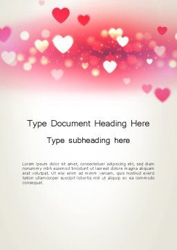 Pink Valentines Day Word Template, Cover Page, 13973, Holiday/Special Occasion — PoweredTemplate.com