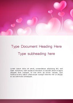 Fantasy Hearts Word Template, Cover Page, 13977, Holiday/Special Occasion — PoweredTemplate.com