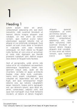 Yellow Batteries Word Template, First Inner Page, 14000, Technology, Science & Computers — PoweredTemplate.com