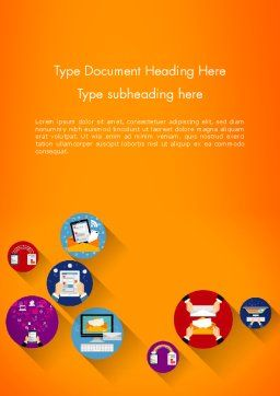 New Technologies Flat Designed Word Template, Cover Page, 14018, Technology, Science & Computers — PoweredTemplate.com