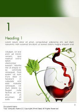 Red Wine Glass Word Template, First Inner Page, 14021, Food & Beverage — PoweredTemplate.com