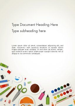 Primary School Supplies Word Template, Cover Page, 14032, Education & Training — PoweredTemplate.com