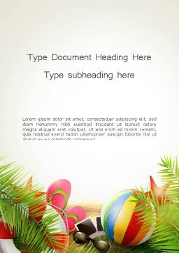 Happy Summer Holiday Word Template Cover Page