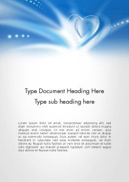 Blue Heart Background Word Template, Cover Page, 14037, Holiday/Special Occasion — PoweredTemplate.com