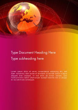 Red Globe Theme Word Template, Cover Page, 14042, Global — PoweredTemplate.com