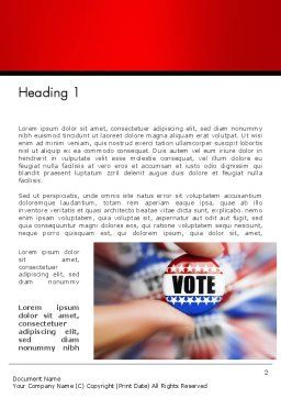 Vote Badge Word Template, First Inner Page, 14051, America — PoweredTemplate.com