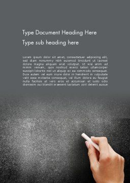 Female Hand Writing by White Chalk on Blackboard Word Template, Cover Page, 14063, Education & Training — PoweredTemplate.com