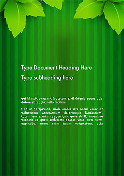 Green Leaf Theme Word Template, Cover Page, 14069, Nature & Environment — PoweredTemplate.com