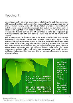 Green Leaf Theme Word Template, First Inner Page, 14069, Nature & Environment — PoweredTemplate.com