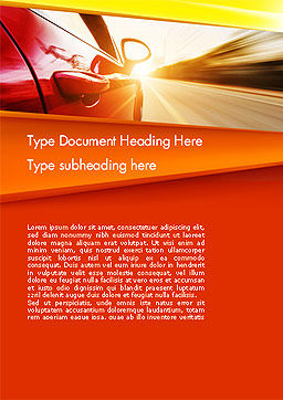 High-Speed Car Word Template, Cover Page, 14096, Cars/Transportation — PoweredTemplate.com