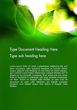Translucent Green Leaf Word Template Cover Page