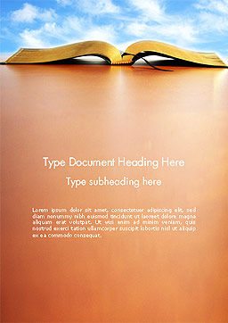 Open Book Word Template, Cover Page, 14109, Education & Training — PoweredTemplate.com