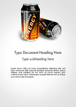 Energy Drink Word Template, Cover Page, 14116, Food & Beverage — PoweredTemplate.com