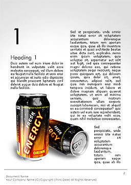 Energy Drink Word Template, First Inner Page, 14116, Food & Beverage — PoweredTemplate.com