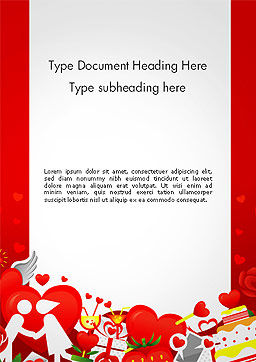 Love Border Frame Word Template, Cover Page, 14117, Holiday/Special Occasion — PoweredTemplate.com