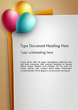 Happy Birthday Balloons Word Template, Cover Page, 14119, Food & Beverage — PoweredTemplate.com