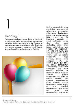 Happy Birthday Balloons Word Template, First Inner Page, 14119, Food & Beverage — PoweredTemplate.com