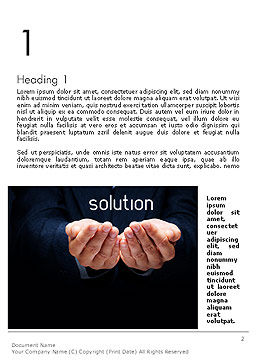 Businessman Holding Solution Word Template, First Inner Page, 14123, Consulting — PoweredTemplate.com