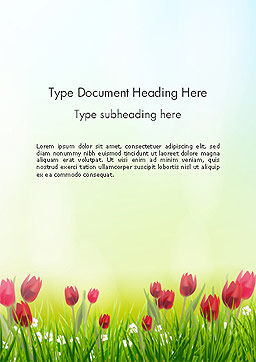 Flower Field Word Template Cover Page
