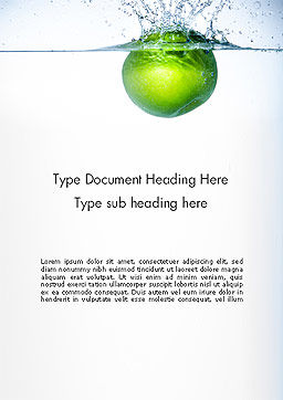 Green Apple Falling Into Water Word Template, Cover Page, 14136, Food & Beverage — PoweredTemplate.com