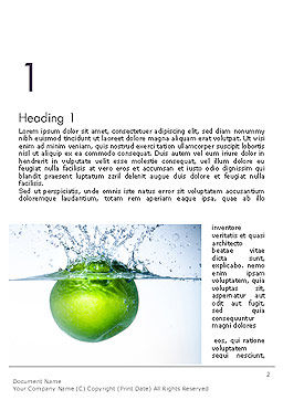 Green Apple Falling Into Water Word Template, First Inner Page, 14136, Food & Beverage — PoweredTemplate.com