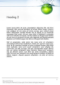 Green Apple Falling Into Water Word Template Second Inner Page