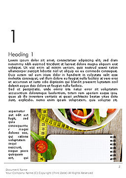 Vegetable Diet Word Template, First Inner Page, 14139, General — PoweredTemplate.com